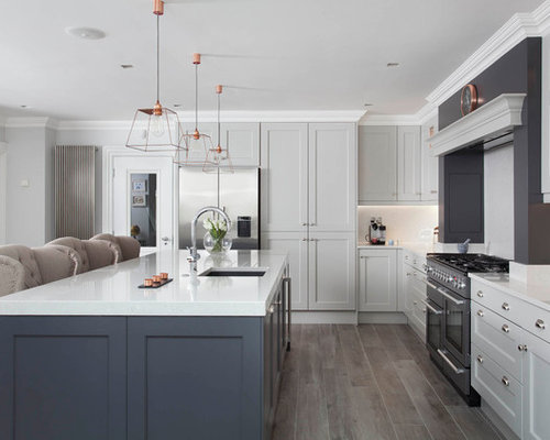 Large traditional open concept kitchen designs inspiration for a large timeless l shaped porcelain