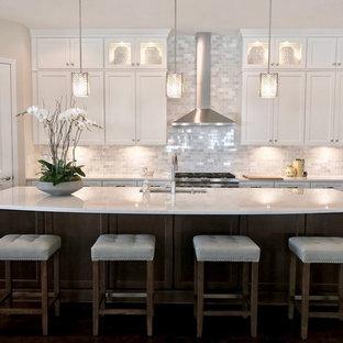 タンパの広いトランジショナルスタイルのおしゃれなキッチン (トリプルシンク、落し込みパネル扉のキャビネット、白いキャビネット、クオーツストーンカウンター、白いキッチンパネル、大理石のキッチンパネル、シルバーの調理設備、濃色無垢フローリング、茶色い床、白いキッチンカウンター) の写真
