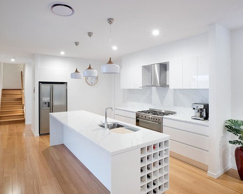 Design Ideas For A Small Contemporary Galley Separate Kitchen In Gold Coast    Tweed With Stainless