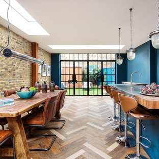 Design ideas for a mid-sized eclectic l-shaped open plan kitchen in London with a farmhouse sink, shaker cabinets, blue cabinets, zinc benchtops, mirror splashback, stainless steel appliances, dark hardwood floors, with island, multi-coloured floor and grey benchtop.