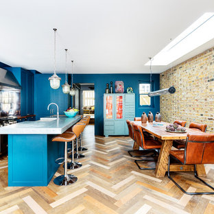 Photo of a mid-sized eclectic l-shaped open plan kitchen in London with a farmhouse sink, shaker cabinets, blue cabinets, zinc benchtops, mirror splashback, stainless steel appliances, dark hardwood floors, with island, multi-coloured floor and grey benchtop.