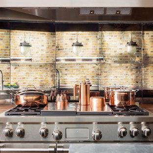 ロンドンの中くらいのエクレクティックスタイルのおしゃれなキッチン (エプロンフロントシンク、シェーカースタイル扉のキャビネット、青いキャビネット、亜鉛製カウンター、ミラータイルのキッチンパネル、シルバーの調理設備、濃色無垢フローリング、マルチカラーの床、グレーのキッチンカウンター) の写真