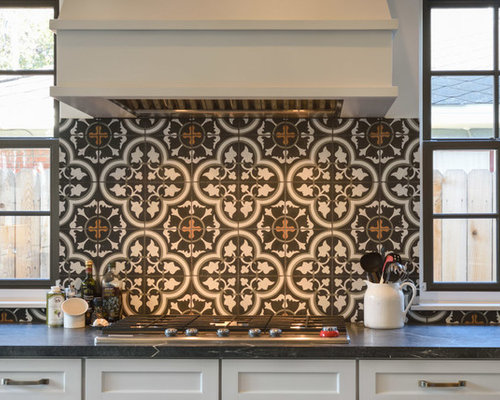 kitchen with cement tile backsplash and soapstone countertops design