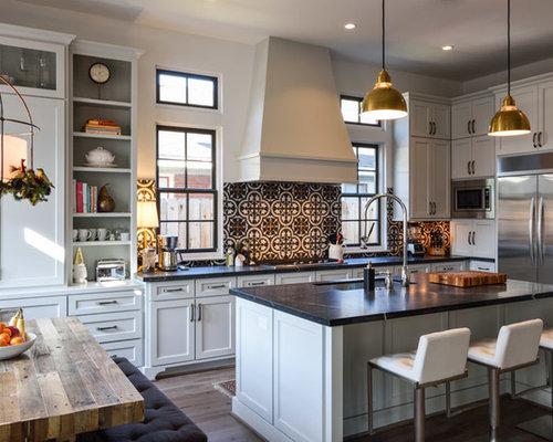 Kitchen With Cement Tile Backsplash Design Ideas Remodel Pictures Houzz
