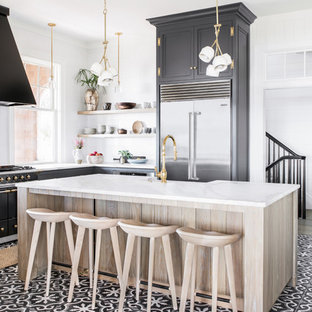 Coastal kitchen remodeling - Kitchen - coastal l-shaped multicolored floor kitchen idea in Charleston with shaker cabinets, gray cabinets, stainless steel appliances and an island