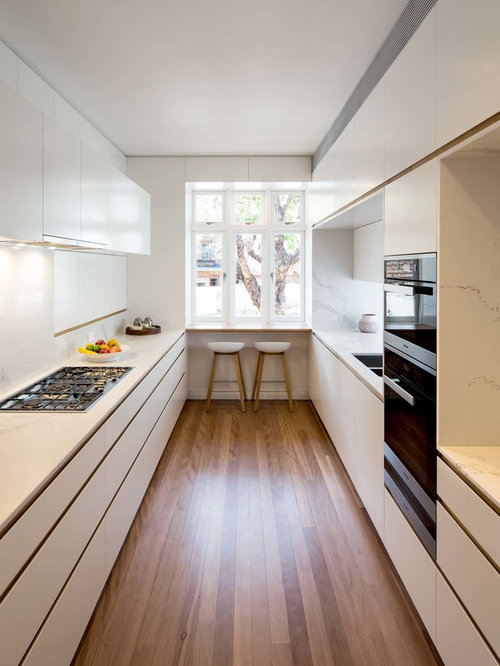 This Is An Example Of A Contemporary Galley Kitchen In Sydney With A  Double Bowl