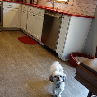 ミルウォーキーの中サイズのトランジショナルスタイルのおしゃれなダイニングキッチン (アンダーカウンターシンク、シェーカースタイル扉のキャビネット、白いキャビネット、クオーツストーンカウンター、セラミックタイルのキッチンパネル、シルバーの調理設備の、クッションフロア、グレーの床、赤いキッチンカウンター) の写真
