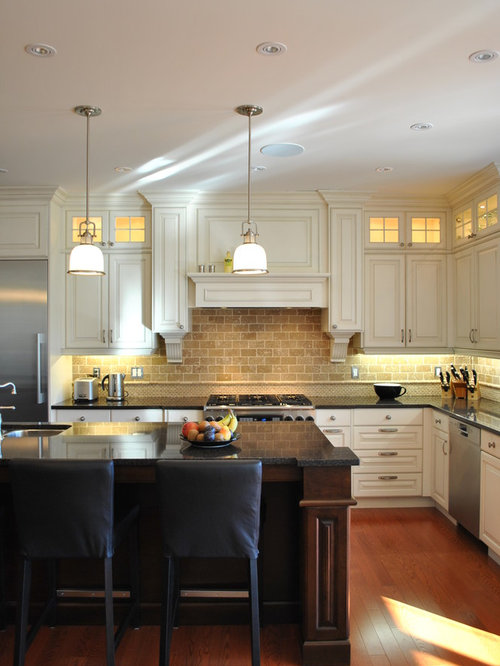backsplash lighting. Inspiration For A Timeless Lshaped Kitchen Remodel In Ottawa With Raisedpanel Cabinets Backsplash Lighting