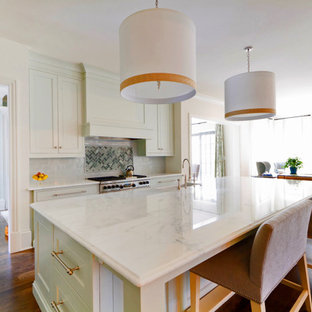 Transitional kitchen photos - Example of a transitional kitchen design in Atlanta with marble countertops