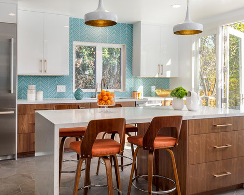 Large midcentury modern enclosed kitchen ideas example of a large midcentury modern u shaped