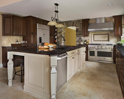 Kitchen design ideas renovations amp photos with brown cabinets and