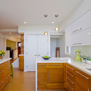 Example of a trendy kitchen design in Minneapolis with an undermount sink, flat-panel cabinets and medium tone wood cabinets
