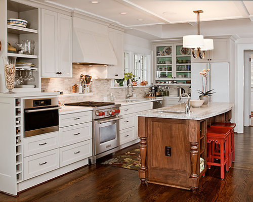 Kitchen   Traditional L Shaped Kitchen Idea In Atlanta With Glass Front  Cabinets,