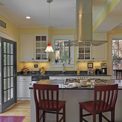 Inspiration for a timeless kitchen remodel in DC Metro with raised-panel cabinets, white cabinets and black backsplash