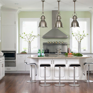 Transitional kitchen remodeling - Inspiration for a transitional dark wood floor and brown floor kitchen remodel in Chicago with shaker cabinets, white cabinets, metallic backsplash, stainless steel appliances and an island