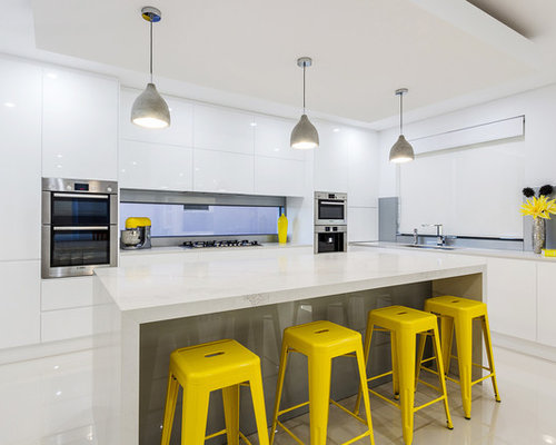 Contemporary Kitchen In Hobart With Flat Panel Cabinets, White Cabinets,  Stainless Steel Appliances