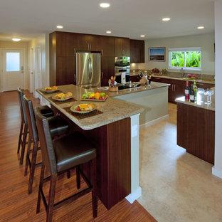 Large Tropical Kitchen Ideas Island Style U Shaped Ceramic Floor And Beige