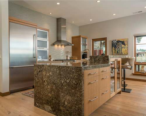 Contemporary Kitchen Pictures   Example Of A Trendy Galley Medium Tone Wood  Floor And Brown Floor