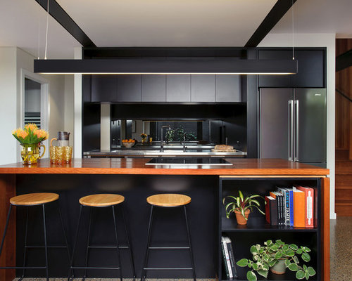 Wonderful This Is An Example Of A Mid Sized Contemporary Galley Open Plan Kitchen In  Brisbane