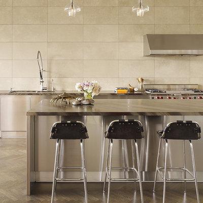 Kitchen - contemporary kitchen idea in San Francisco with stainless steel appliances and travertine backsplash