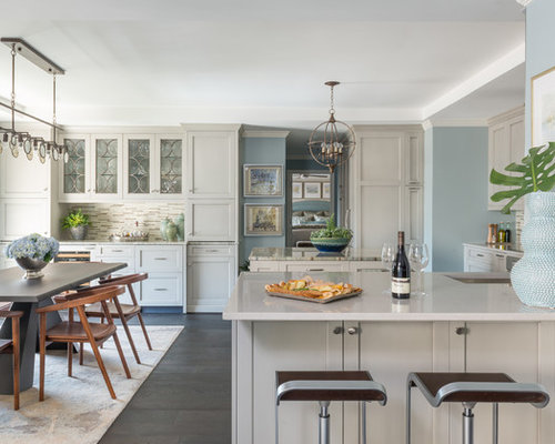 Mid Sized Transitional Eat In Kitchen Remodeling   Inspiration For A  Mid Sized