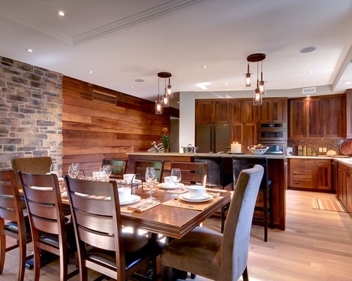 Wood Wall Design Ideas rustic sauna idea in burlington Example Of A Trendy L Shaped Eat In Kitchen Design In Toronto With Dark