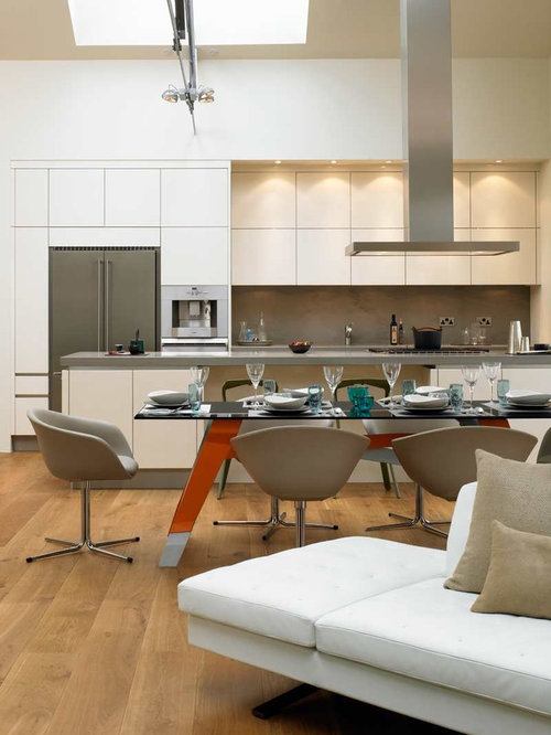 Inspiration For A Modern Galley Open Concept Kitchen Remodel In London With  Flat Panel Cabinets Part 41
