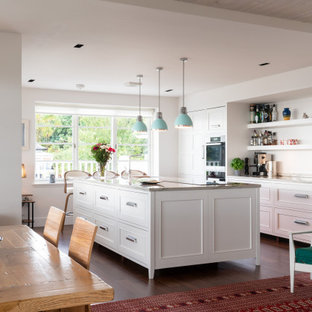 This is an example of a classic galley kitchen/diner in Other with recessed-panel cabinets, white cabinets, stainless steel appliances, dark hardwood flooring, an island, brown floors and grey worktops.