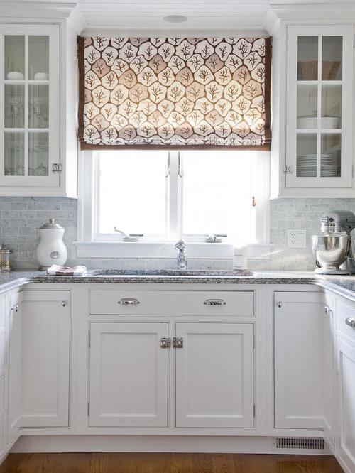 Amazing Elegant Kitchen Photo In New York With Beaded Inset Cabinets, White Cabinets,  White Backsplash