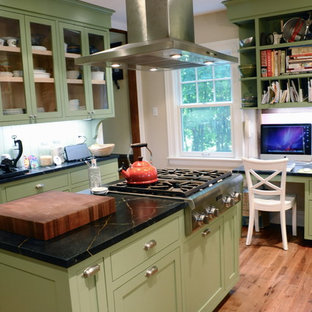 Inspiration for a timeless kitchen remodel in New York with shaker cabinets, green cabinets, soapstone countertops and stainless steel appliances
