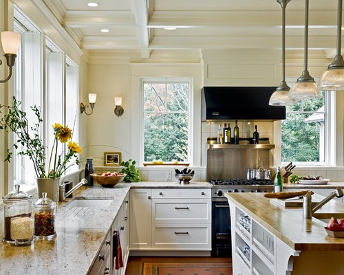 Shelving Instead Of Upper Cabinets Houzz - Kitchen with shelves instead of cabinets