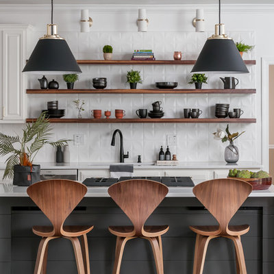 Example of a mid-sized minimalist l-shaped dark wood floor and brown floor eat-in kitchen design in Atlanta with open cabinets, dark wood cabinets, quartzite countertops, white backsplash, an island, white countertops, a drop-in sink, ceramic backsplash and stainless steel appliances
