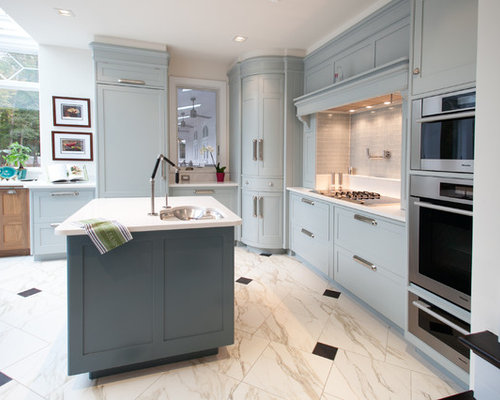 Kitchen pantry in other with an undermount sink raised panel cabinets - Corner Pantry Houzz
