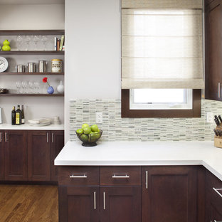 C Kitchen  Contemporary Kitchen Idea In San Francisco With Shaker Cabinets  Dark Wood