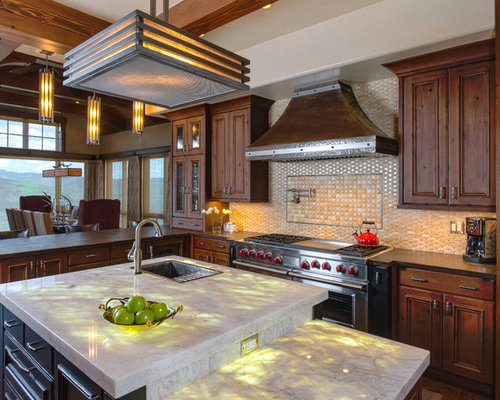 Large Mountain Style Eat In Kitchen Photo In Other With A Drop In Sink