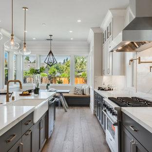 サンフランシスコの広いカントリー風おしゃれなキッチン (エプロンフロントシンク、シェーカースタイル扉のキャビネット、グレーのキャビネット、クオーツストーンカウンター、白いキッチンパネル、クオーツストーンのキッチンパネル、シルバーの調理設備、淡色無垢フローリング、グレーの床、白いキッチンカウンター) の写真