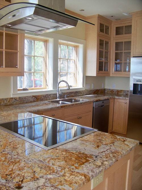 Elegant Kitchen Photo In Portland Maine With Glass Front Cabinets,  Stainless Steel Appliances And