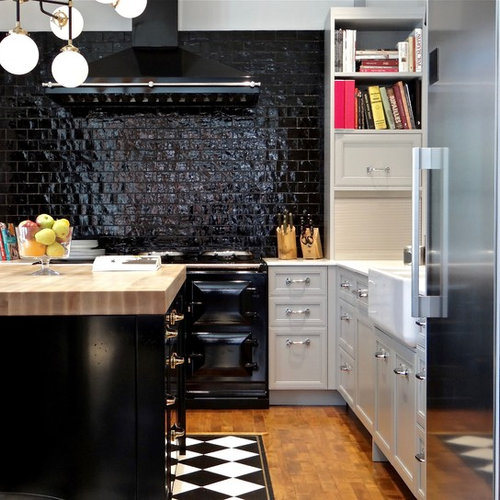 Small transitional kitchen photos  Example of a small l shaped medium tone wood Black And White Tile Floor Kitchen Ideas Photos Houzz