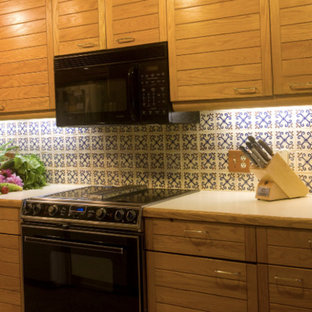 Small southwestern eat-in kitchen ideas - Example of a small southwest galley bamboo floor and beige floor eat-in kitchen design in Bridgeport with shaker cabinets, white cabinets, solid surface countertops, blue backsplash, ceramic backsplash and black appliances