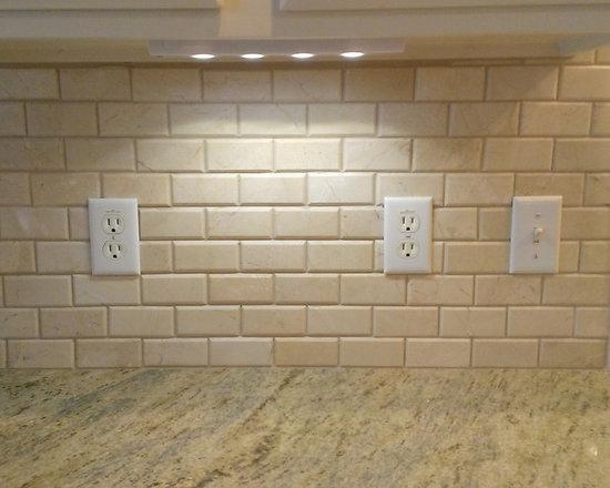 """Kitchen Backsplash Beveled Subway Tile kitchen - backsplash - 3"""" x 6"""" crema marfil beveled subway tile"""