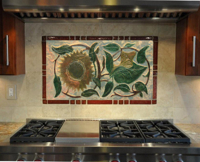 Kitchen Backsplash-Art Nouveau Sunflowers - nstalled