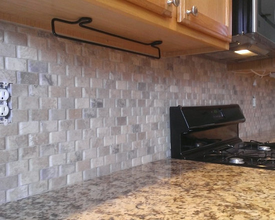 Kitchen Backsplash No Grout kitchen - backsplash - basket weave stone / no grout