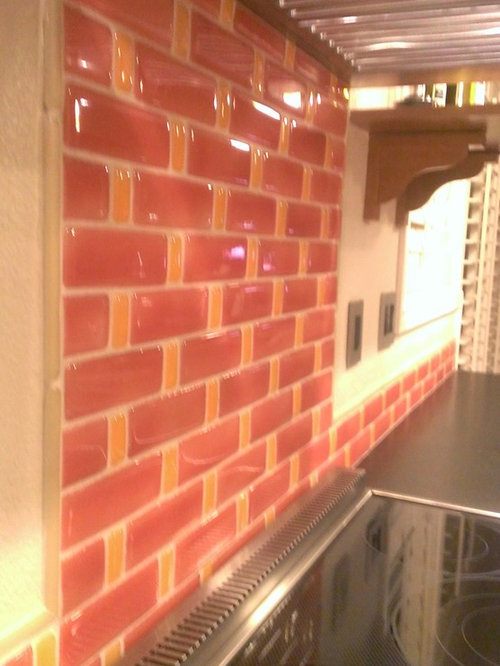 kitchen backsplash fire clay tile recycled glass
