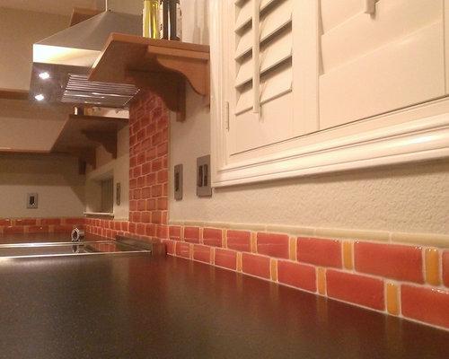 kitchen backsplash fire clay tile recycled glass