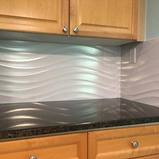 Design ideas for a medium sized classic u-shaped kitchen/diner in Austin with raised-panel cabinets, light wood cabinets, granite worktops, white splashback, ceramic splashback and an island.