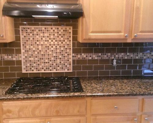Kitchen Brown Glass Backsplash