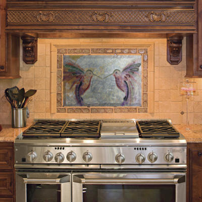 Kitchen Backsplash Tile -Artisan stone carving