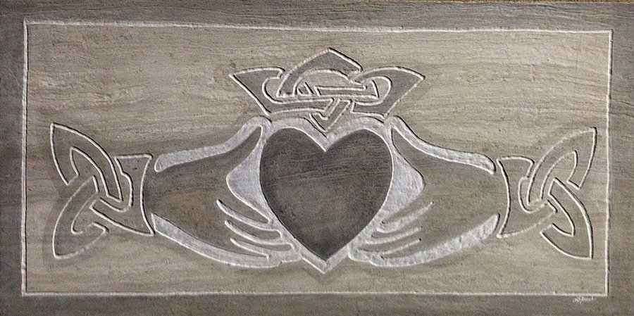 Kitchen Backsplash Tile-Claddagh in marble: Custom Celtic Tile