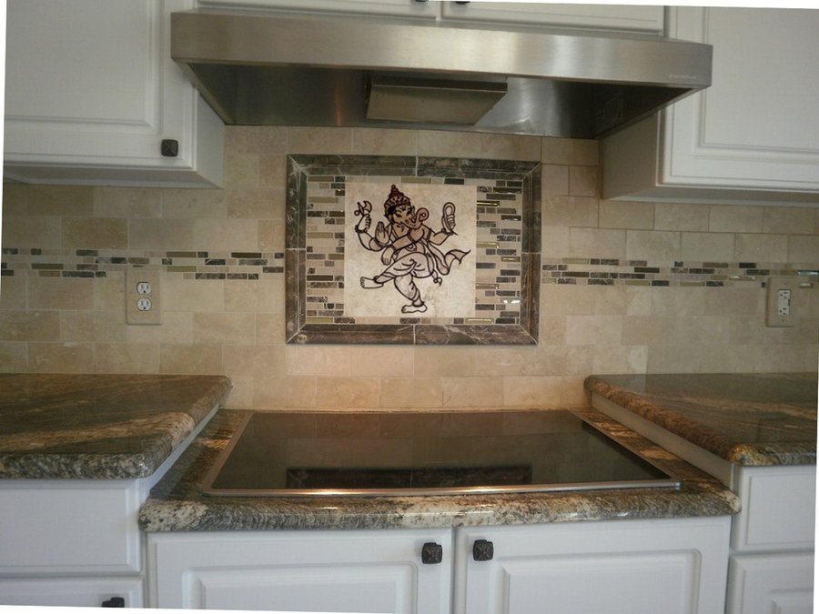 "Kitchen Backsplash Tile- Custom Carving: ""Dancing Ganesh"""