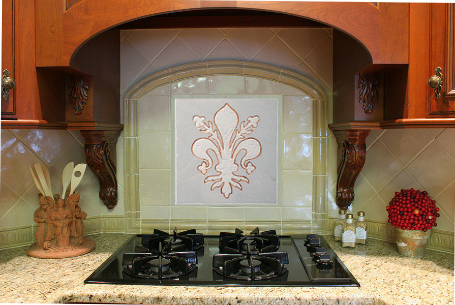 Kitchen Backsplash Tile: Golden Fleur De Lis- Carerra Marble & Gold Leaf